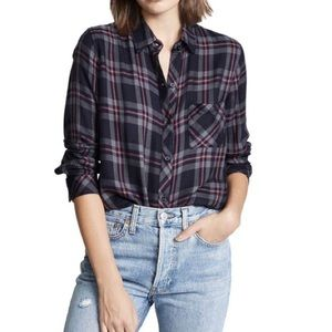 Rails Hunter Plaid Flannel Coal Gray Rose Top